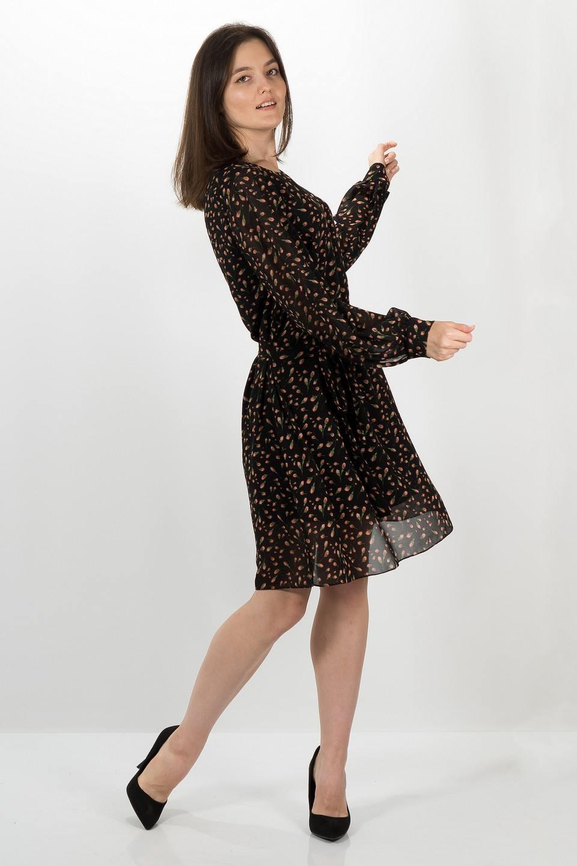 Платье 4870 (шифон, цвет чёрный красный с рисунком) - БРАВА. Женская одежда от производителя оптом и в розницу (г. Киров)